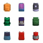 Colorful Backpack Icon Set. Cartoon Set Of 9 Colorful Backpack Vector Icons For Web Design Isolated  poster