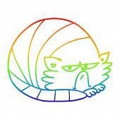 rainbow gradient line drawing of a cartoon grumpy cat poster