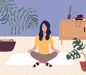Young Woman With Closed Eyes Sitting Cross Legged On Floor And Meditating. Meditation, Relaxation At poster