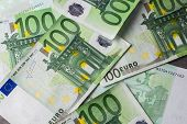 Group Of 100 Euro Notes. Euro Banknotes Close Up. Several Hundred Euro Banknotes Many Of One Hundred poster