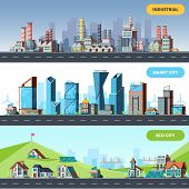 Town Flat. Ecology Industrial Smart City Architectural Objects Different Buildings Factory Vector Ho poster