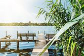 Idyllic View Of Havel River In Berlin With Pier And Reeds On Riverbank Under Blue Summer Sky poster