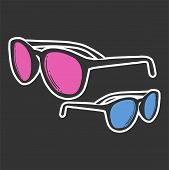Fashion Sunglasses. Vector Concept In Doodle And Sketch Style. poster