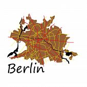 Flat Berlin City Map With Boroughs Illustration Silhouette Shape poster