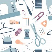 Sewing Seamless Pattern: Sewing Machine, Scissors, Thread, Needles, Measuring Tape. Handmade. Arts A poster