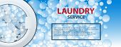 Laundry Service Banner Or Poster. Washing Machine Drum Background With Soap Bubbles. 3d Realistic Ve poster