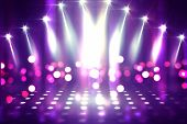 Empty Background Scene. Ultraviolet Light, Bokeh, Blurred Rays. Rays Of Neon Light In The Dark, Neon poster