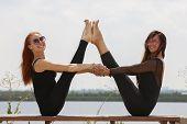 Two Young Women Doing Yoga At Nature. Fitness, Sport, Yoga And Healthy Lifestyle Concept - Group Of poster