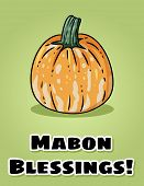 Mabon Blessings Fall Pagan Holiday Pumpkin Postcard. Autumn Harvest Celebration Flyer poster