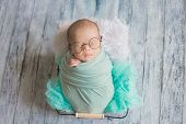 Adorable Newborn Baby Sleeping In Cozy Room. poster