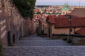 Pananorma View Over The Old Town Of Prague In The Evening. Steps Lead From The Prague Castle Down To poster