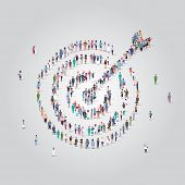 People Crowd Gathering In Shape Of Target With Arrow Icon Social Media Community Goal Competition Ac poster