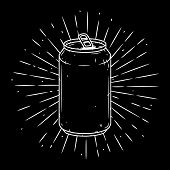 Aluminum Can. Hand Drawn Vector Illustration With Aluminum Can And Divergent Rays. Used For Poster,  poster