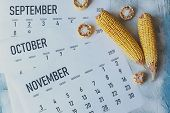Autumn Months, Fall Season Concept. Harvest Time. Three Monthly Calendars Of September, October And  poster