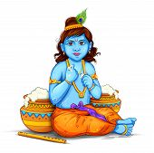 Illustration Of Lord Krishna Eating Makhan In Happy Janmashtami Festival Background Of India poster