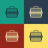 Color Pet Carry Case Icon Isolated On Color Background. Carrier For Animals, Dog And Cat. Container  poster