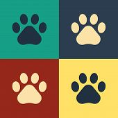 Color Paw Print Icon Isolated On Color Background. Dog Or Cat Paw Print. Animal Track. Vintage Style poster