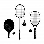Set Of Tennis Racquets. Ping Pong, Badminton, Table Tennis, Big Tennis Racquets And Balls. Black Ske poster