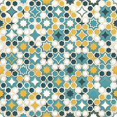 Islamic Ornamental Background In Color. Islamic Ornamental Colorful Detail Of Mosaic. Arabic, East O poster