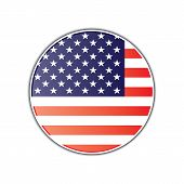 American Flag Round Glossy Badge. Glossy Round Badge With American Flag Vector Eps10. American Flag  poster