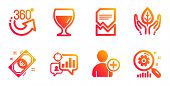 Wine Glass, Fair Trade And Seo Statistics Line Icons Set. Euro Money, 360 Degrees And Add User Signs poster