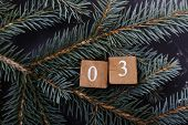 Advent Calendar. Countdown To Christmas. Wooden Numbers. Number Three. Christmas Background. Winter  poster