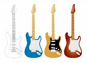 Electric Guitar, Music, Band, Instrument. Vector Illustration Of Electric Guitars. Best For Entertai poster