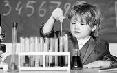 Genius Pupil. Education Concept. Experimenting With Chemistry. Talented Scientist. Boy Test Tubes Li poster