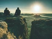 Two Hikers Taking Pictures And Talk On Top Of The Mountain. Hikers Photographers With Photo Gear Rel poster