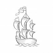 Sailboat Black And White Vector Illustration. Ancient Vessel With Sails And Flags Sketch For Colorin poster
