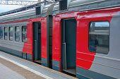 Railway Wagons. Tambour Doors. Suburban Train. Railway Transport. Transportation Of Passengers. Rail poster