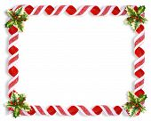 pic of candy cane border  - Image and illustration composition Christmas design with holly leaves and candy ribbons for background border or frame - JPG