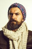 Male Winter Fashion. Fashionable Handsome Bearded Man In Hat. Handsome Man Wearing Demi-season Cloth poster
