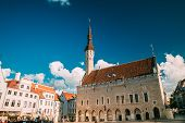 Tallinn, Estonia. Famous Old Traditional Town Hall Square In Sunny Summer Evening. Famous Landmark A poster