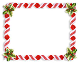 picture of candy cane border  - Image and illustration composition Christmas design with holly leaves and candy ribbons for background border or frame - JPG