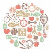 round card with healthy lifestyle icons