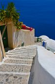 Beautiful Empty Street In Santorini