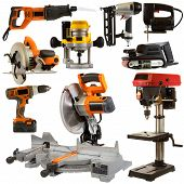picture of carpentry  - Power tool collage isolated on a white background depicting carpentry and construction tools - JPG