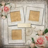 Grunge Background With  Frames And Roses