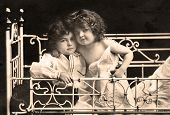 stock photo of edwardian  - Vintage photograph from Edwardian era of brother and sister - JPG