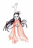 foto of bolero  - A hand drawn illustration of an young dancer - JPG