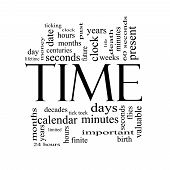 image of tick tock  - Time Word Cloud Concept in Black and White with great terms such as day hours minutes clock date seconds and more - JPG