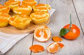stock photo of clementine-orange  - Fresh baked mini clementine cheesecakes in muffin forms with mandarines - JPG