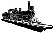 Vector Monochrome Illustration Of Old Steam Train.