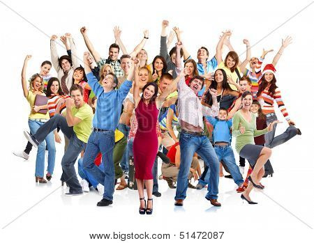 Group of happy people jumping isolated on white background. poster