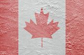 picture of hockey arena  - Image of the Canadian flag on a hockey rink - JPG
