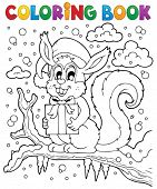 Coloring book Christmas squirrel 1 - eps10 vector illustration.