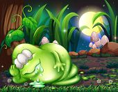 Illustration of a monster sleeping in the forest