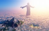 image of crucifix  - Jesus walking on clouds - JPG