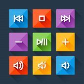Set of media player buttons in flat design style.